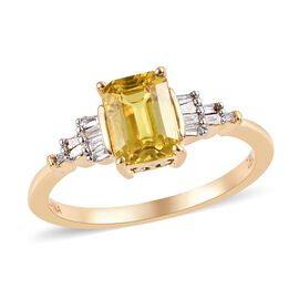 ILIANA 18K Yellow Gold AAA Yellow Sapphire (Oct), Diamond (SI/G-H) Ring 1.10 Ct.