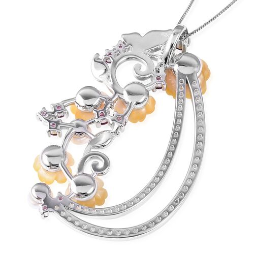 Jardin Collection - Yellow Mother of Pearl, Freshwater Pearl, Rhodolite Garnet and Natural White Cambodian Zircon Pendant With Chain (Size 18) in Enameled and Two Tone Sterling Silver