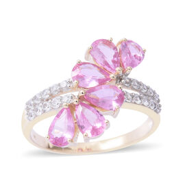 Limited Edition- 9K Yellow Gold AAA Pink Sapphire ( Pear 2.10 Ct), Natural Cambodian White Zircon Ring 2.500 Ct.