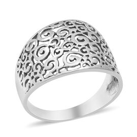 ARTISAN CRAFTED - Sterling Silver Filigree Design Ring, Silver wt 3.29 Gms