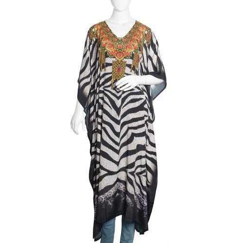 Black, Orange and Multi Colour Zebra and Necklace Digital Printed Kaftan (Free Size)