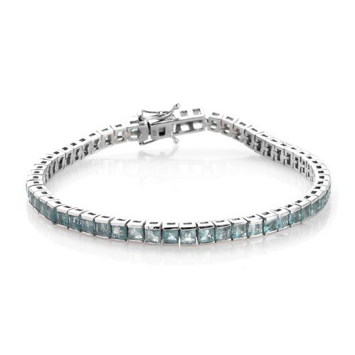 8.50 Ct Grandidierite Princess Cut Tennis Bracelet in Platinum Plated Silver 11.50 Grams 7.5 Inch