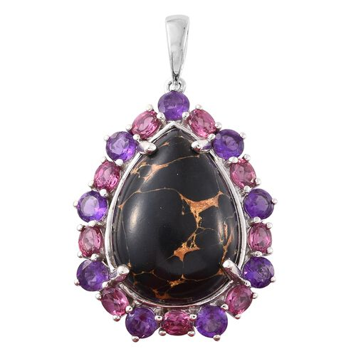 Exclusive Edition-Arizona Mojave Black Turquoise (Pear 16.00 Ct), Amethyst and Rhodolite Garnet Pendant in Platinum Overlay Sterling Silver 20.000 Ct.