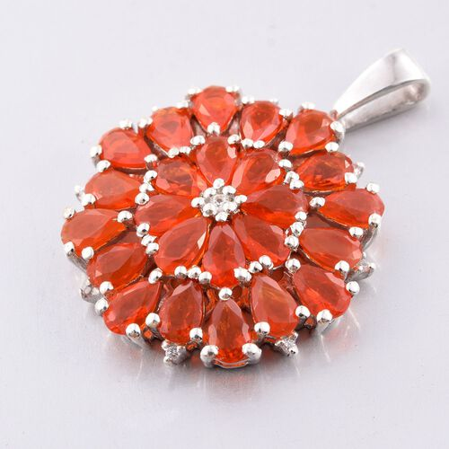 Jalisco Fire Opal (Pear), Natural Cambodian Zircon Pendant in Platinum Overlay Sterling Silver 3.500 Ct.
