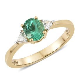 ILIANA 1 Carat AAA Emerald and Diamond 3 Stone Ring in 18K Gold 3.33 Grams