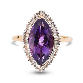 9K Yellow Gold Lusaka Amethyst and Diamond Ring 4.05 Ct.