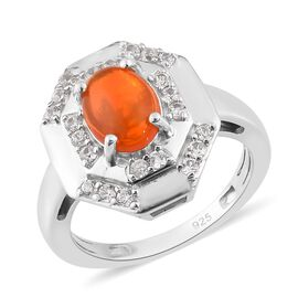 Orange Ethiopian Opal and Cambodian Zircon Ring in Platinum Overlay Sterling Silver 1.25 Ct.