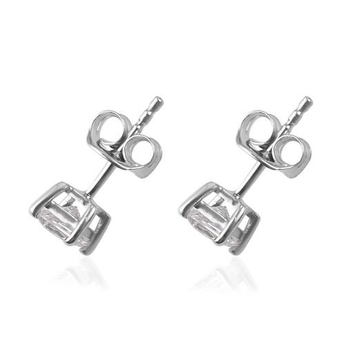 J Francis Platinum Overlay Sterling Silver Stud Earrings (with Push Back) Made with SWAROVSKI ZIRCONIA 0.68 Ct.
