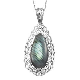 One Time Deal- Labradorite (Pear 30x15mm) Pendant With Chain (Size 18) in Silver Plated 26.75 Ct.