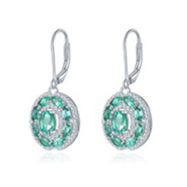 AAA Kagem Zambian Emerald (Ovl and Mrq), Diamond Lever Back Earrings in Rhodium Overlay Sterling Sil