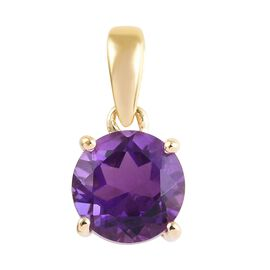 9K Yellow Gold AA Amethyst (Rnd) Pendant  0.75 Ct.