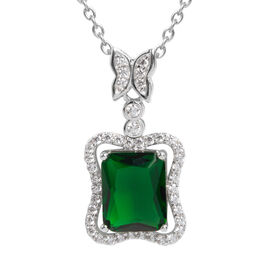 Simulated Emerald and Simulated Diamond Pendant With Chain in Silver Tone