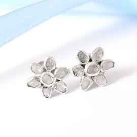 GP Polki Diamond and Blue Sapphire Flower Stud Earrings (with Push Back) in Sterling Silver