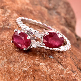 GP African Ruby, Natural Cambodian Zircon and Blue Sapphire Bypass Ring in Rhodium Overlay Sterling Silver 3.74 Ct.