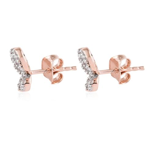 WEBEX- J-Francis Rose Gold Overlay Sterling Silver Cluster Butterfly Earrings (with Push Back) Made with SWAROVSKI ZIRCONIA