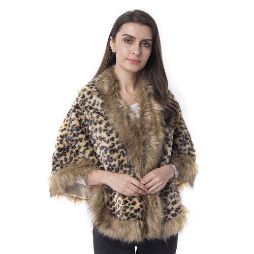 Super Soft Leopard Print Faux Fur Wrap (Size 156x58 Cm)