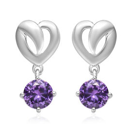 ELANZA Simulated Amethyst (Rnd) Earrings (with Push Back) in Platinum Overlay Sterling Silver 2.00 C