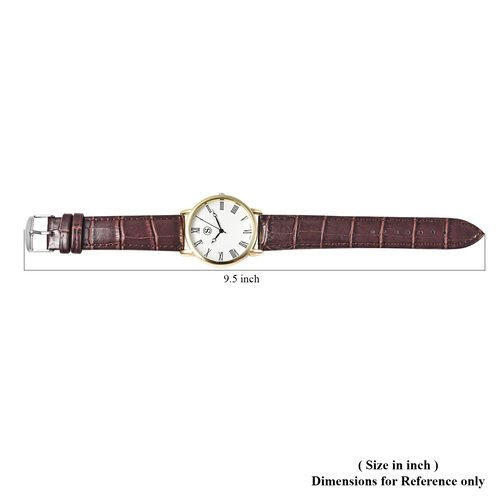 Personalise Engravable STRADA Japanese Movement Watch with Gold Tone and Brown Strap