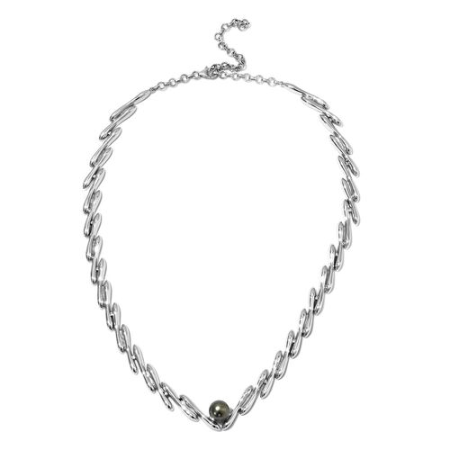 LucyQ Tahitian Pearl Necklace in Rhodium Plated Sterling Silver 65 Grams 20 with 3 inch Extender