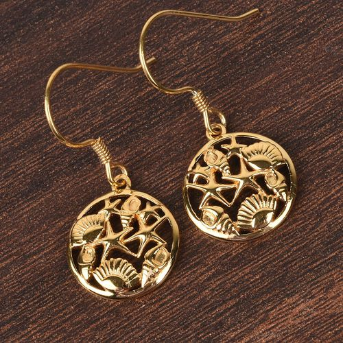 14K Yellow Gold Overlay Sterling Silver Sea-shell and Strafish Hook Earrings