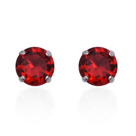 ELANZA AAA Simulated Ruby (Rnd) Stud Earrings (with Push Back) in Sterling Silver
