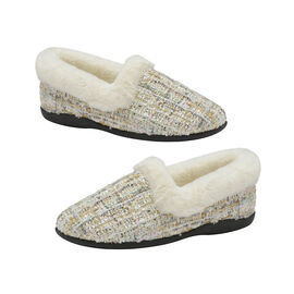 Dunlop Sandie Ladies Fleece Lined Collared Full Slippers in Beige Fleck