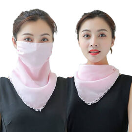 2 in 1 Chiffon Soft Feel Scarf and Protective Face Mask (Size 45x45 Cm) - Solid Pink