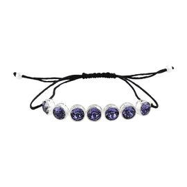 J Francis - Crystal from Swarovski Tanzanite Colour Crystal (Round 7mm) Adjustable Bracelet (Size 6.