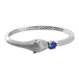 J Francis - Crystal from Swarovski Sapphire Colour Crystal (Rnd) Panther Bangle (Size 7.5)