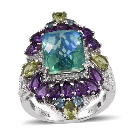 GP Peacock Quartz (Oct 6.85 Ct), Hebei Peridot, Electric Swiss Blue Topaz, Kanchanaburi Blue Sapphire, Amethyst and White Topaz Ring in Platinum Overlay Sterling Silver 8.750 Ct.