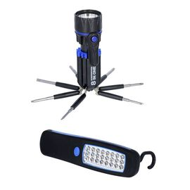 Value Buy- 2 Piece Set - LED Work Light (Size 14x4.5cm) and Tool Set (Size 20x6x3cm) - Blue and Blac