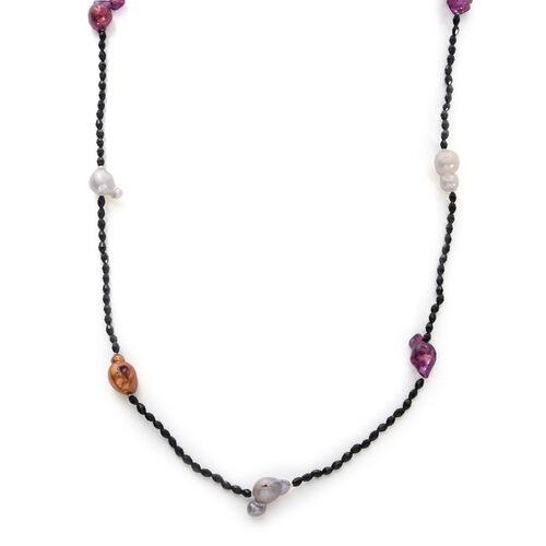 Multi Colour Dyed Keshi Pearl and Black Glass Station Necklace (Size 48)