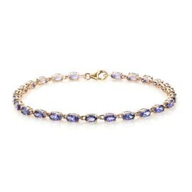 9K Yellow Gold Tanzanite (Ovl) Tennis Bracelet (Size 7.5) 6.00 Ct.