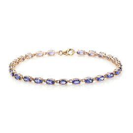 6 Carat Tanzanite Tenns Bracelet in 9K Gold 3.80 Grams 7.5 inch