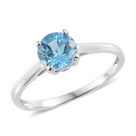 9K White Gold Swiss Blue Topaz (Rnd) Solitaire Ring 1.000 Ct.