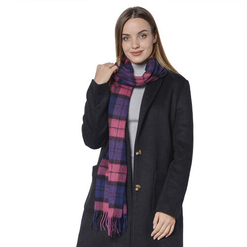 Plaid Pattern Wool Scarf with Fringes (Size 30x170+8cm) - Black and Red