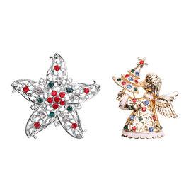 Set of 2 - Multi Colour Austrian Crystal Enamelled Christmas Theme - Star and Angel Brooch