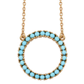 Arizona Sleeping Beauty Turquoise (Rnd) Circle of Life Necklace with Chain (Size 18) in 14K Gold Overlay Sterling Silver 1.250 Ct.