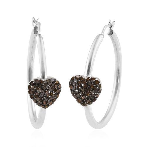 GP 0.56 Ct Red Diamond and Kanchanaburi Blue Sapphire Heart Hoop Earrings in Platinum Plated Silver