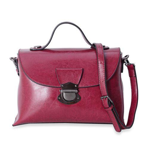 Oxford 100% Genuine Leather Burgundy Colour Sachel Bag with Removable Shoulder Strap (Size 27x18.5x11 Cm)