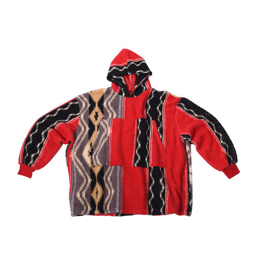 Tribal Pattern Hooded Fleecy Sweatshirt (Size 194x98cm) - Black and Red