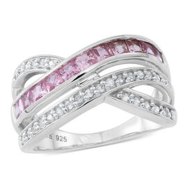 Pink Sapphire (Sqr),Natural White Cambodian Zircon Criss Cross Ring in Rhodium Plated Sterling Silve