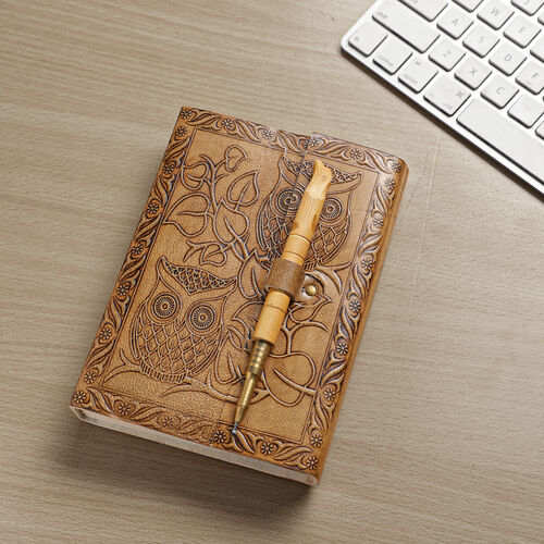 Handcrafted Owl Embossed Leather Journal with Wooden Pen - Brown