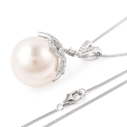 Hallitois Asinina White Pearl (Very Rare Size Rnd 18)  and Natural Cambodian Zircon Pendant with Chain (Size 18) in Rhodium Overlay Sterling Silver