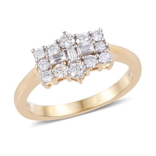 ILIANA 18K Yellow Gold IGI Certified Diamond (Rnd) (SI/G-H) Boat Cluster Ring 0.500 Ct.