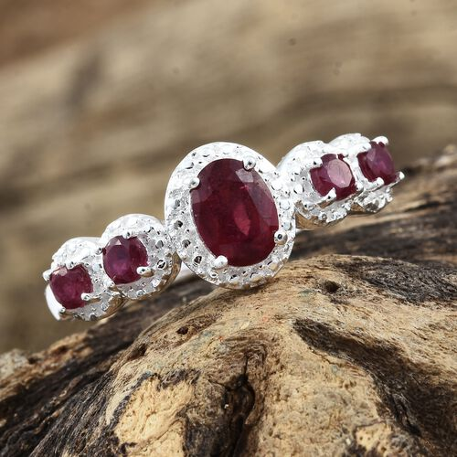 Designer Inspired-AAA African Ruby (Ovl 7X5 mm) Ring in Sterling Silver 1.750 Ct.