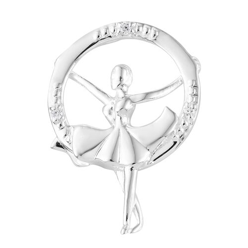 J Francis - Sterling Silver (Rnd) Dancing Doll Pendant Made with SWAROVSKI ZIRCONIA, Silver wt 4.24