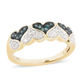 Blue and White Diamond (Rnd) Heart Ring in Blue and 14K Yellow Gold Overlay Sterling Silver 0.250 Ct