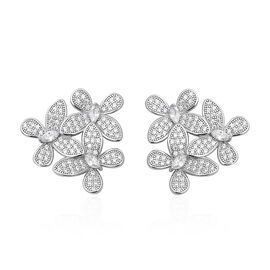 ELANZA Simulated Diamond Butterfly Earrings in Rhodium Plated Sterling Silver