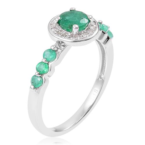 Kagem Zambian Emerald (Rnd), Natural White Cambodian Zircon Ring in Rhodium Overlay Sterling Silver 1.050 Ct.